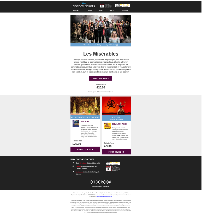 Encore Tickets Les Miserables personalised email recommendation algorithm